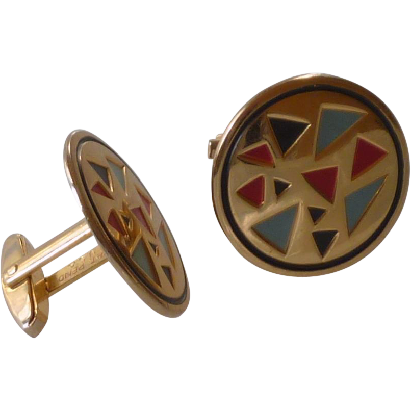 Colorful Gold Tone Round Cufflinks Cuff Links