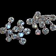 1950's Diamond Rhinestone Screw On Earrings