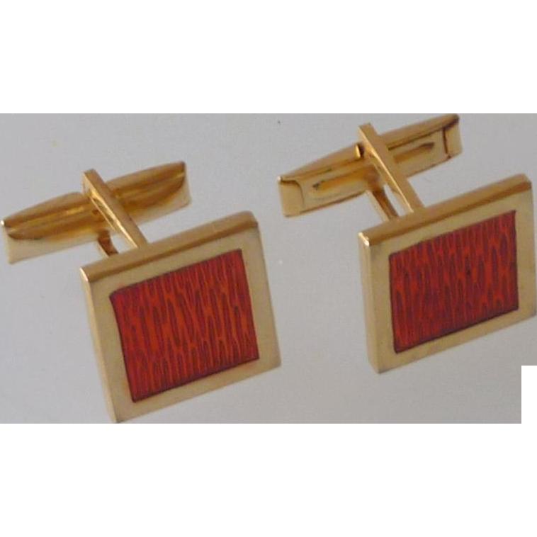 Gold Tone Orange Red Square Cuff Links Cufflinks