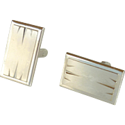 Hickok Silver Tone Rectangular Cufflinks Cuff Links
