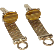 Mesh Wrap Around Tiger Eye Cufflinks  Cuff Links
