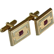 Brushed Gold Tone Red Glass Center Cufflinks Cuff Links