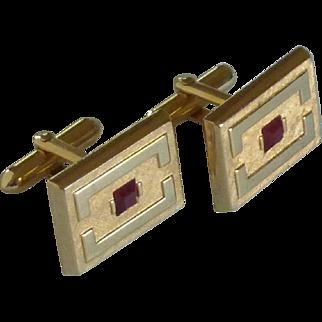 Brushed Gold Tone Red Glass Center Cufflinks Cuff Links