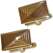 Gold Tone Rectangle Decorative Cuff Links Cufflinks
