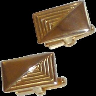 Gold Tone Rectangle Decorative Cuff Links Cufflinks