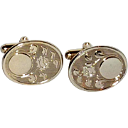 Oval Gold Tone with Rose Imprint Cufflinks Cuff Links
