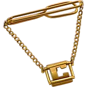 1920-1930s Swank Initial C Tie Bar with Chain