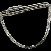 Beautiful Plain Swank Silver Tone Chain Tie Bar