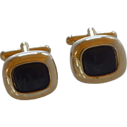 Black Onyx Square Gold Tone Cufflinks Cuff Links