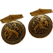 Damascene Round Gold Tone Cufflinks Cuff Links