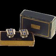 Kumapart Blue Art Deco Snap Cufflinks Cuff Links