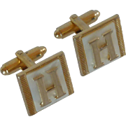 Mother of Pearl Initial Letter H Gold Tone Cuff Links Cufflinks