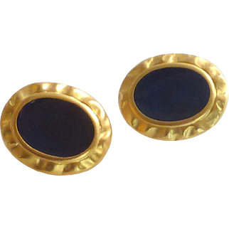 Signed Leja  Blue Enamel Gold Tone Clip On Earrings