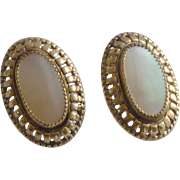 Whiting and Davis Co. MOP Gold tone Clip-On Earrings