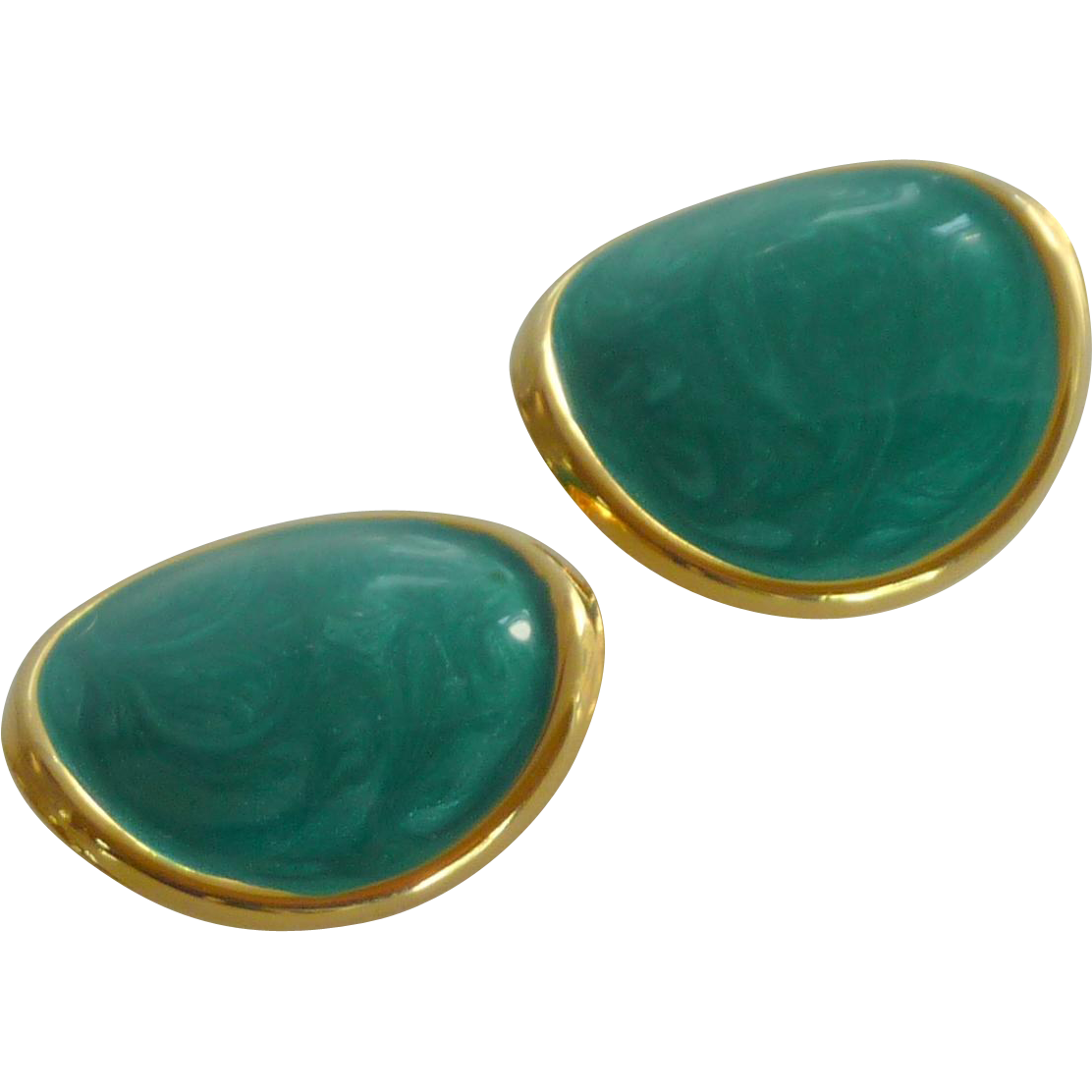 Teal Blue Enamel Gold Tone Clip On Earrings