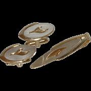 Speidel Silver Gold Tone Cufflinks Cuff Links and Tie Clip