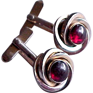 Swank Red Glass Gold Tone Flower Rose Cuff Links Cufflinks