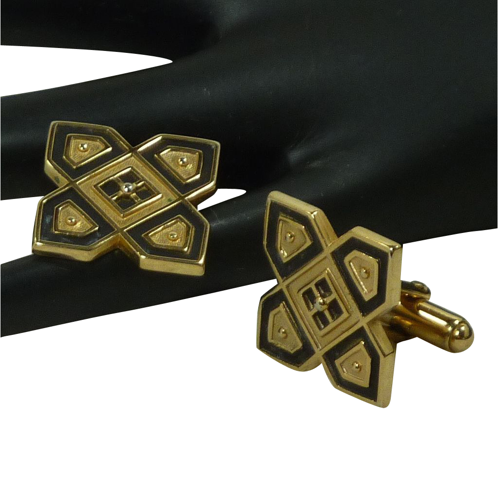 Anson Gold Tone and Black Motif Cuff Links Cufflinks