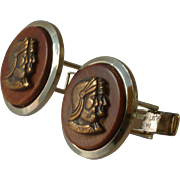 Metal Bronze Cameo Centurion Roman Wood Cufflinks Cuff Links