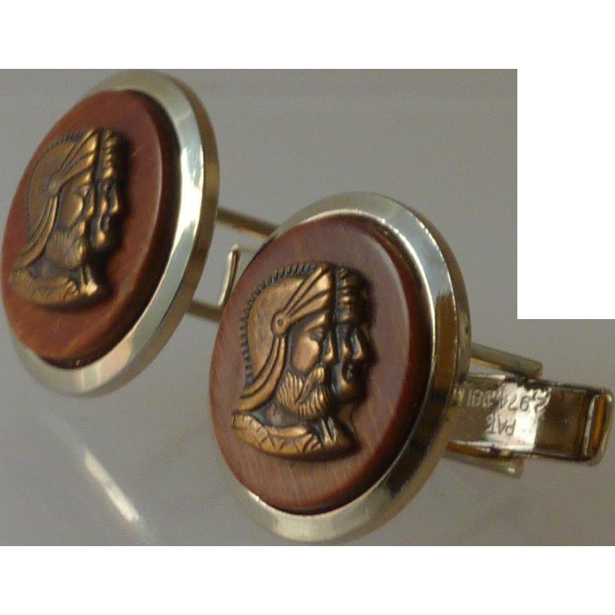 Metal Bronze Cameo Centurion Roman Wood Cufflinks Cuff Links
