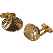 Swank Gold Tone Thick Oval Cuff Links Cufflinks