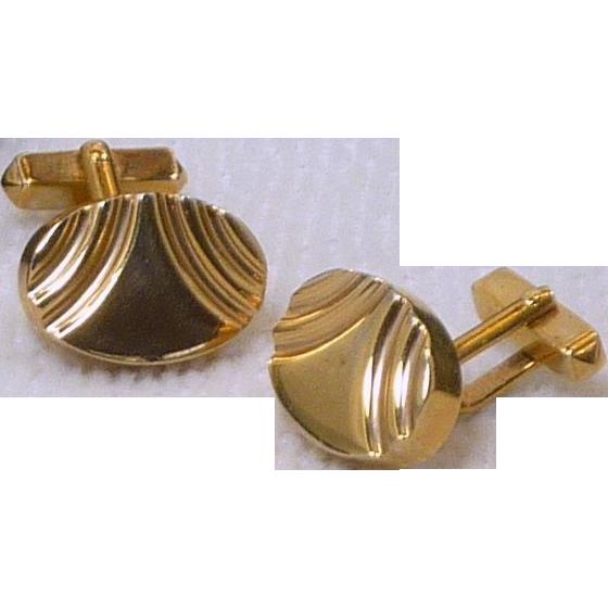Swank Gold Tone Thick Oval Cuff Links Cufflinks