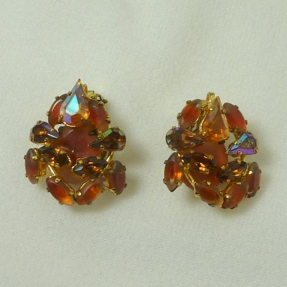 West Germany  1950's Amber Art Glass Clip On Earrings