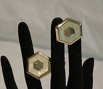 Mother of Pearl Swank  Gold Tone Hexagon Cufflinks Cuff Links