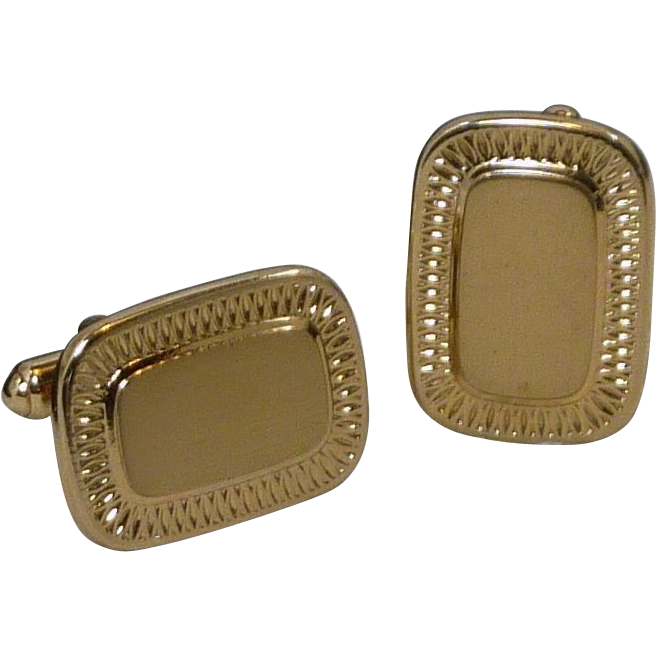 Hickok Gold Tone Rectangle for Initials Cufflink Cuff Links