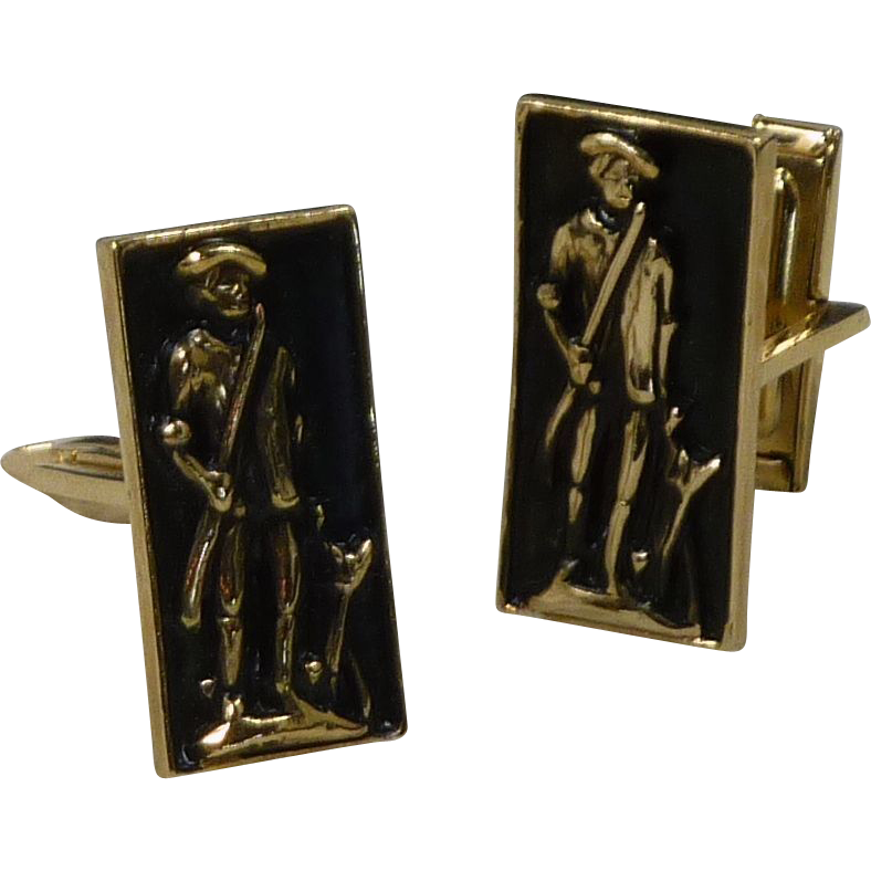 Black and Gold Tone Minute Man Cufflinks Cuff Links