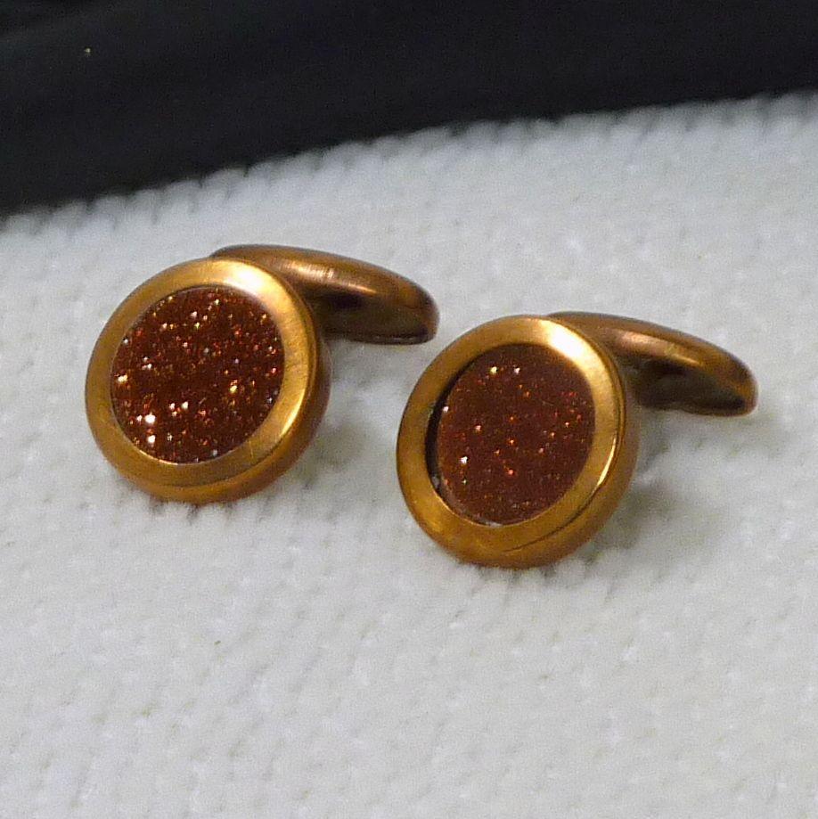 Round Goldstone Cuff Links Cufflinks
