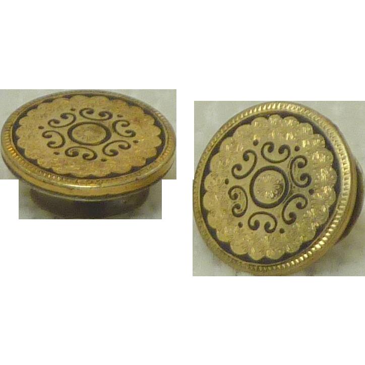 Beautiful Detailed Gold Filled Collar Buttons / Cufflink Buttons
