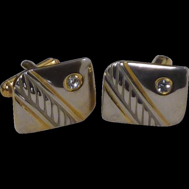 Two Tone Diamond Rhinestone Cufflinks Cuff Links