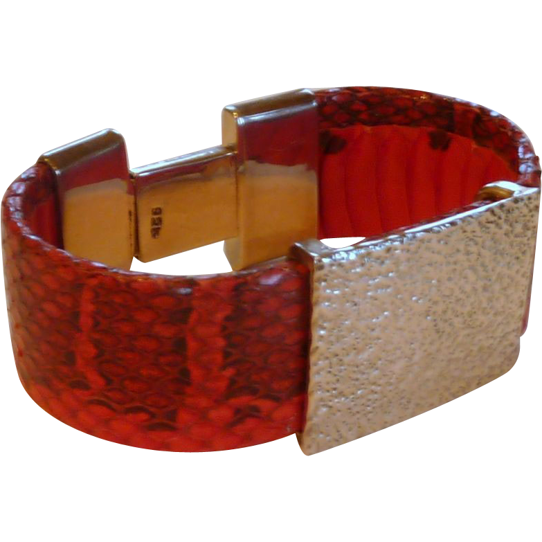 Sterling Silver Red Snakeskin Clamp Bracelet
