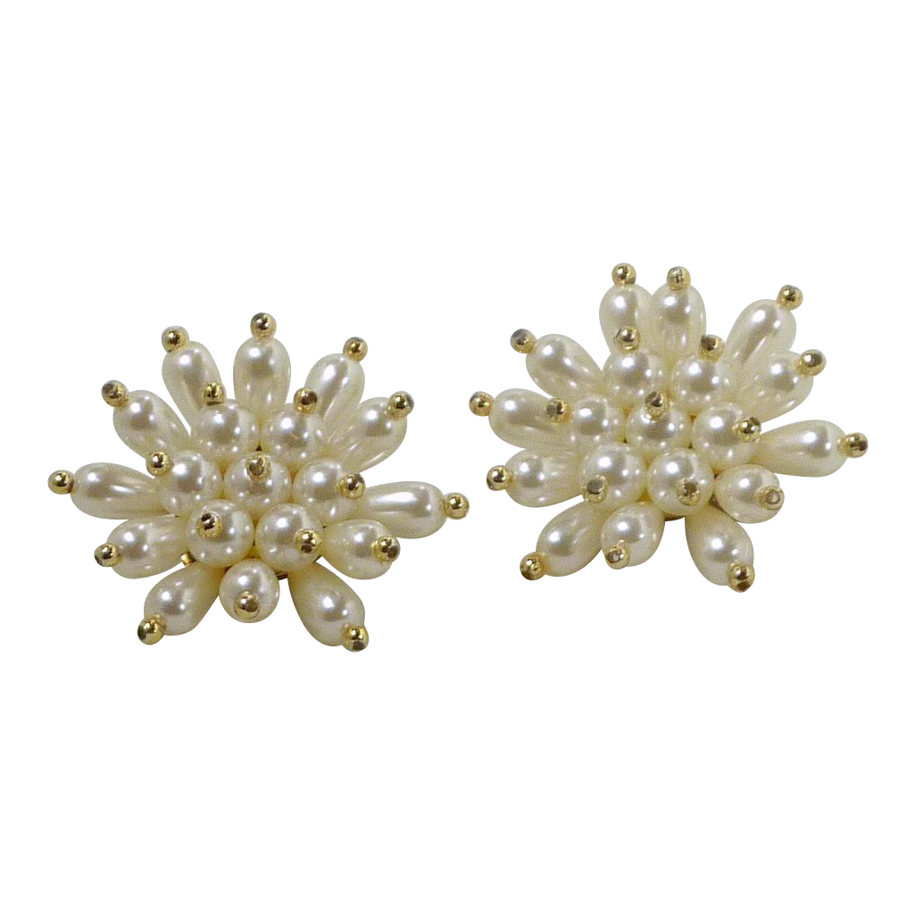 White Faux Pearl Star Burst Clip On Earrings with Gold Tone