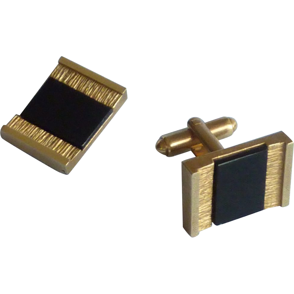 Black Glass in Brush Gold Tone Rectangular Cuff Links Cufflinks