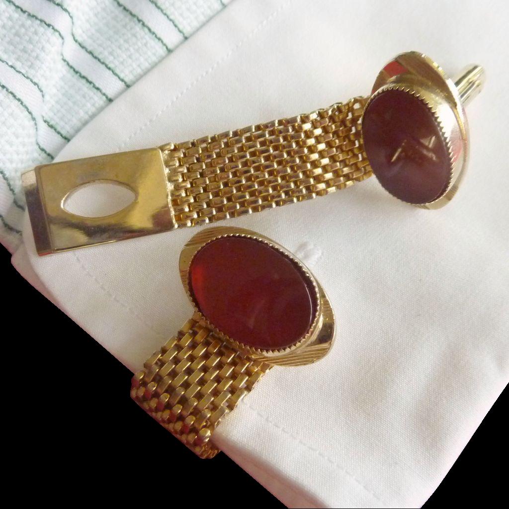 Gold Tone Orange Carnelian Stone Cufflinks Wrap Around Cuff Link Cufflinks