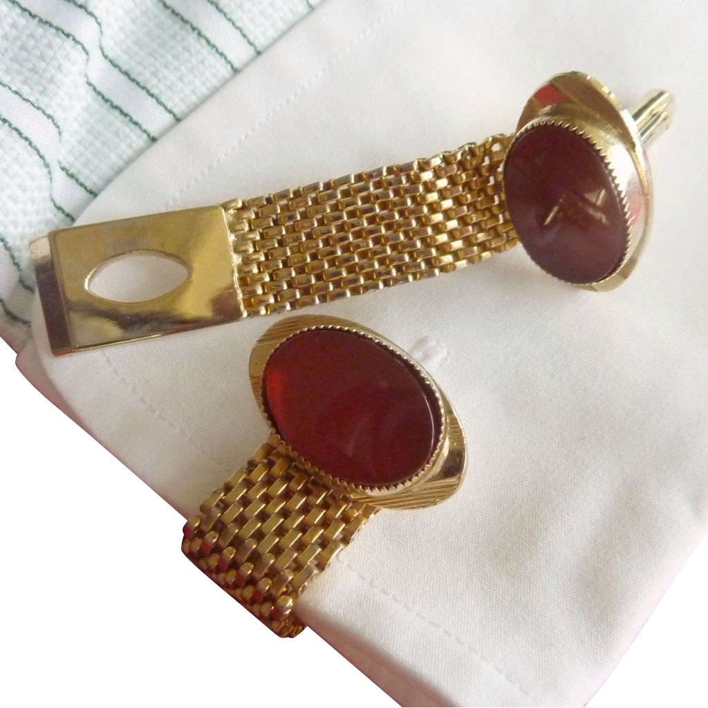 Gold Tone Orange Carnelian Stone Cufflinks Wrap Around Cuff Link Cufflinks