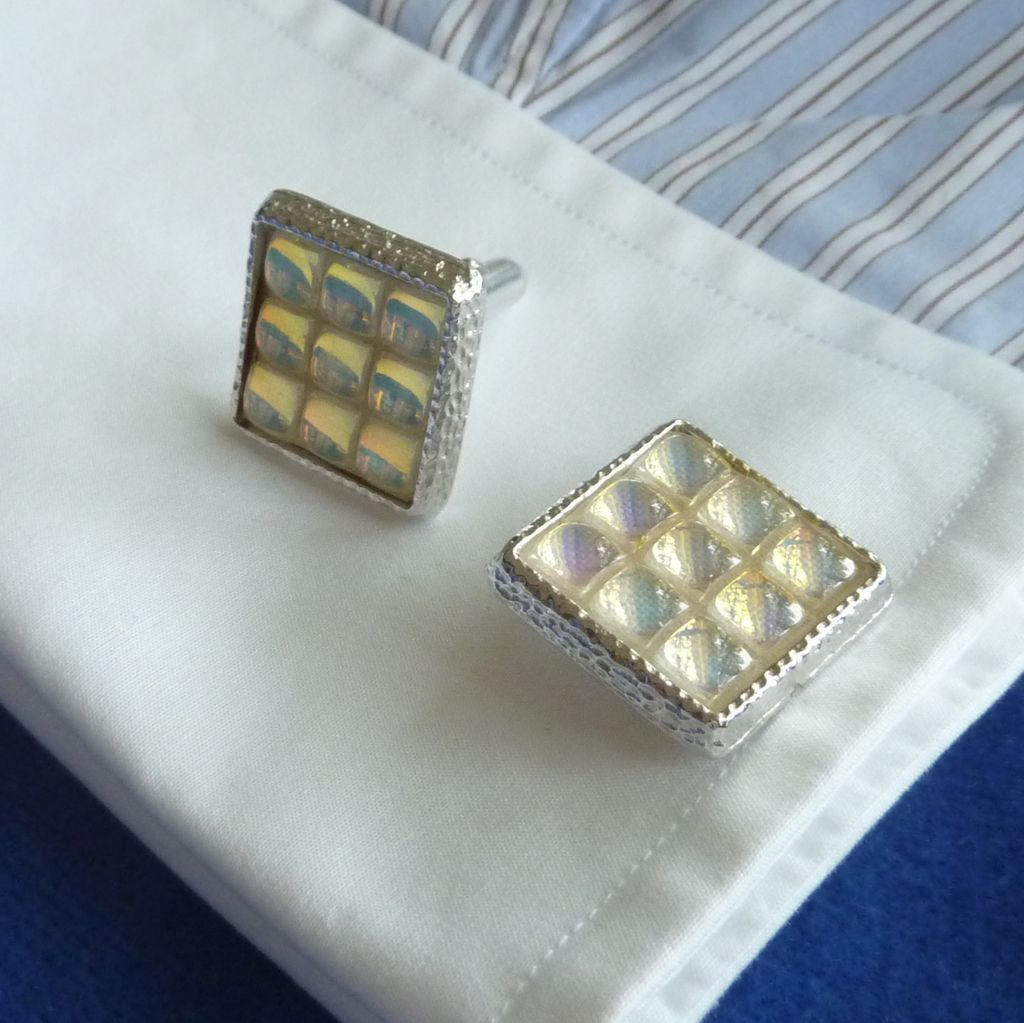 Anson Colorful Grid Silver Tone Cufflinks Cuff Links