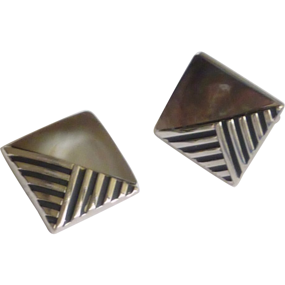 Square Silver Tone Dark Mother of Pearl Cuff links Cufflinks