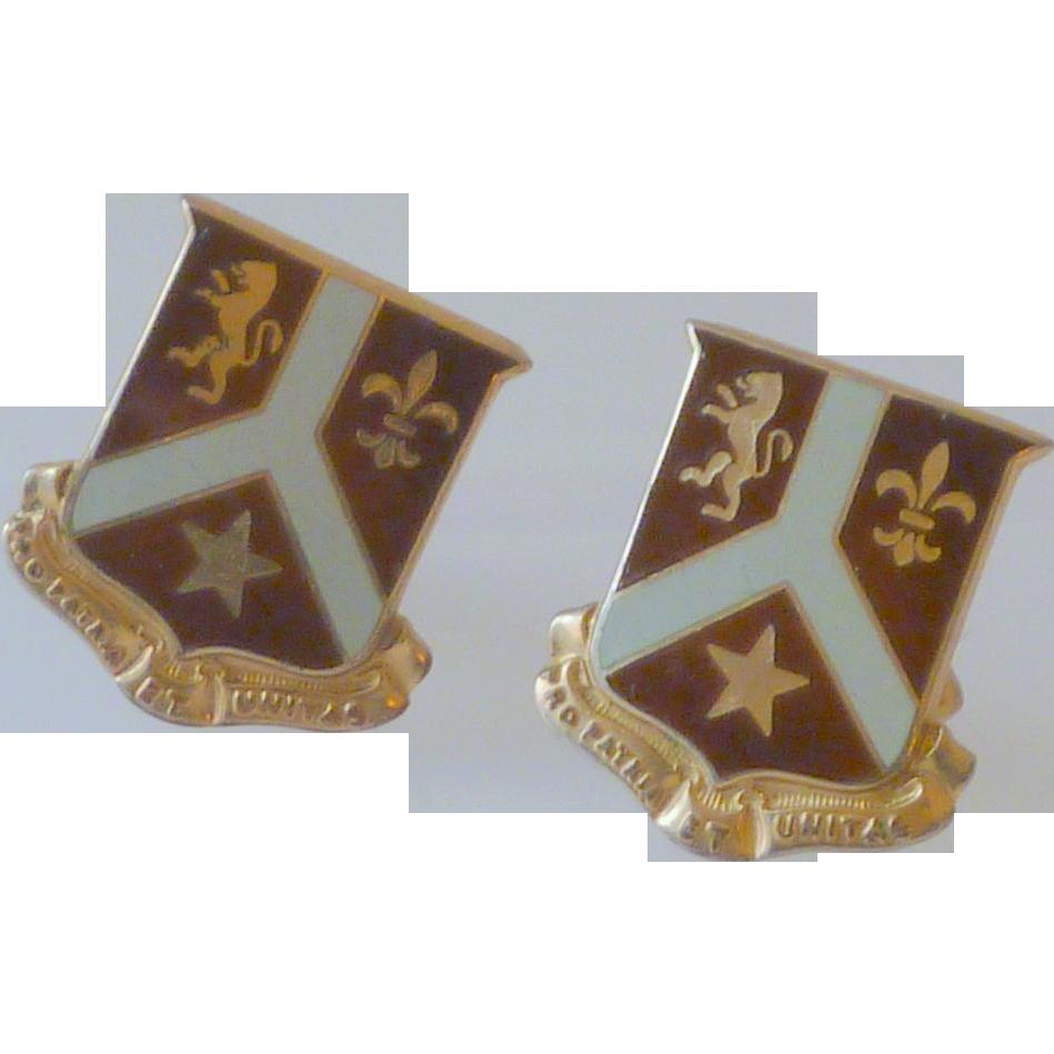 Maroon Swank Shield Coat of Arms Cuff links Cufflinks