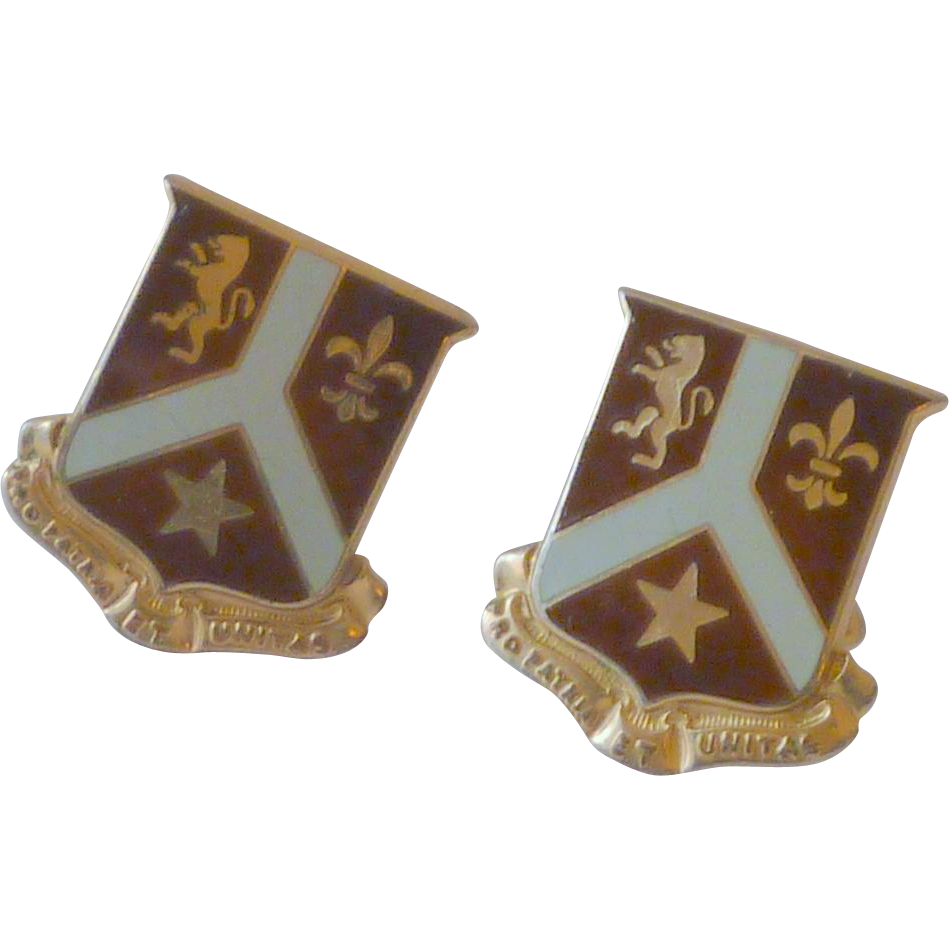 Maroon Swank Shield Coat of Arms Cuff links Cufflinks