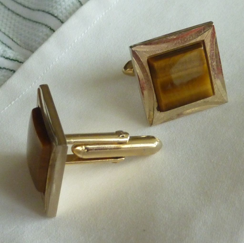 Swank Gold Tone Square Tiger Eye Brown Cufflinks Cuff Links