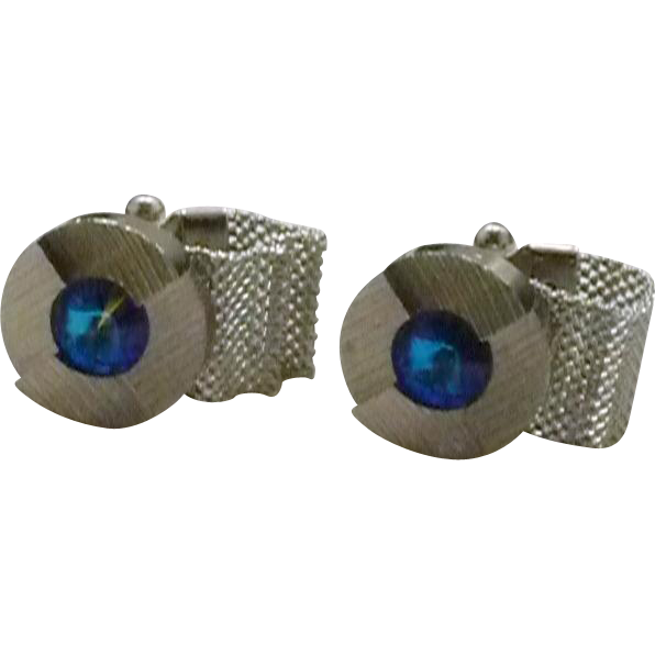 Round Bright Blue Rhinestone Silver Tone Wrap Around Cufflinks Cuff Links