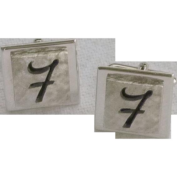 "Swank Silver Tone ""F"" Initial Cufflinks Cuff Links"