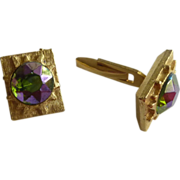 Swank Multi Colored Rhinestone Gold Tone Cufflink Cuff Links