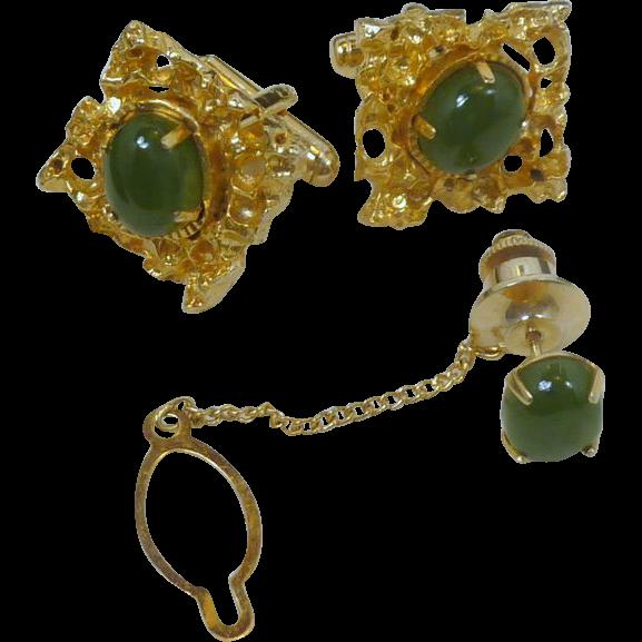 Beautiful Gold Tone Jade Green Cufflinks Cuff Links and Tie Tack