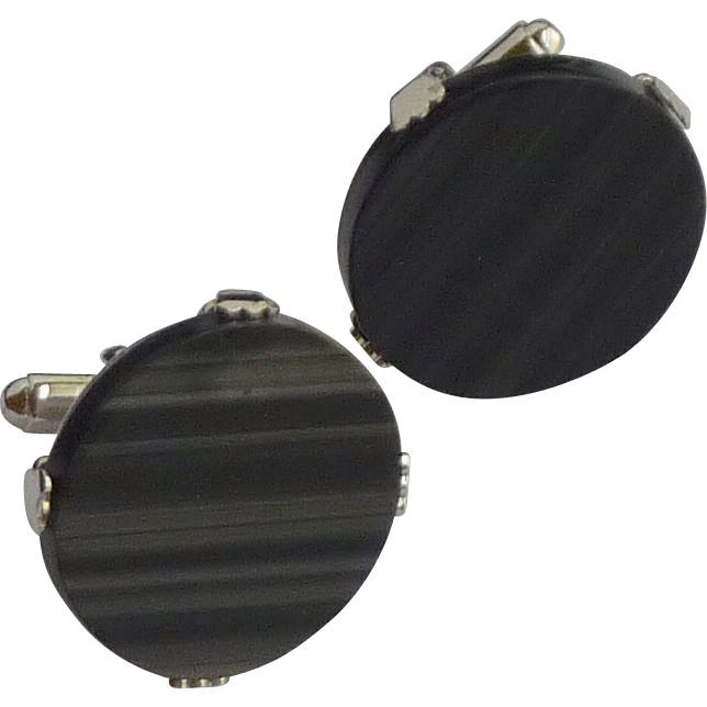 Large Faux Black Stone Silver Tone Cufflinks Cuff Links