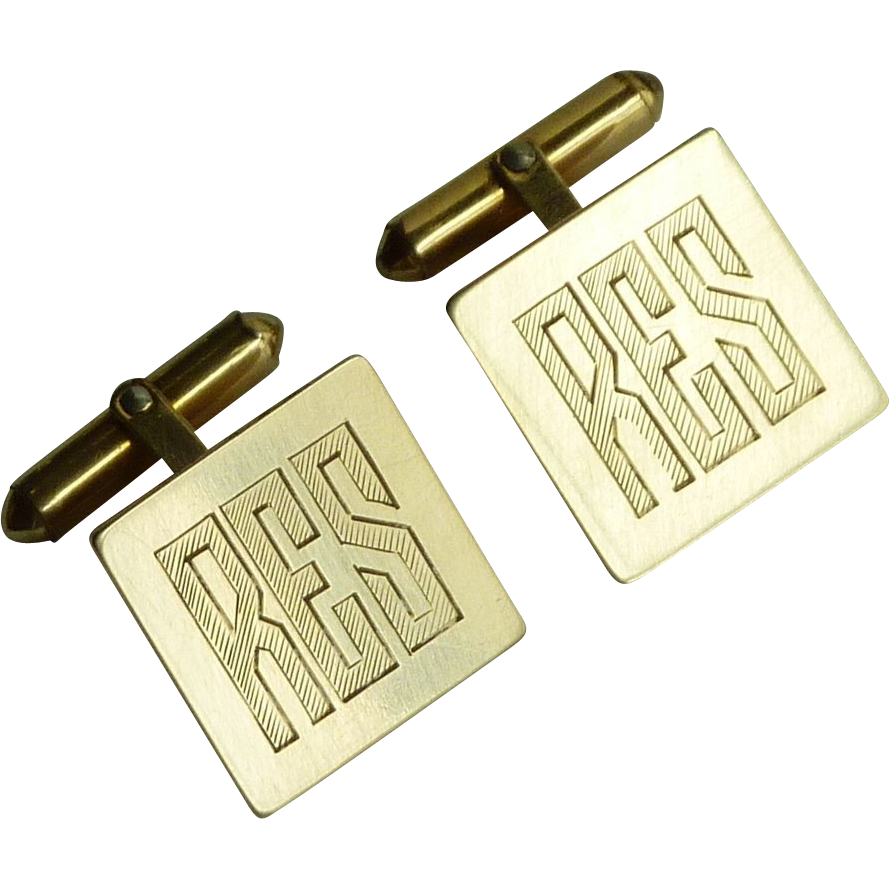 Initials RES Gold Filled Square Cufflinks Cuff Links
