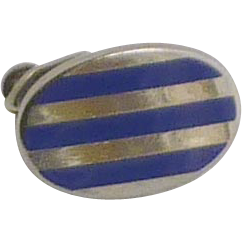 1950-1960 Small Oval Blue Bar Clip for Skinny Tie